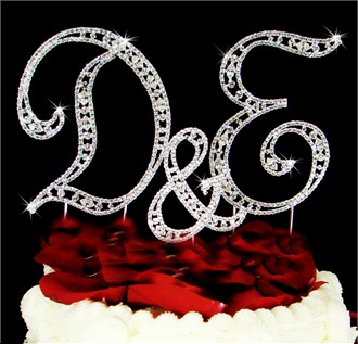 Vintage Style His and Hers Initial Cake Topper with Ampersand