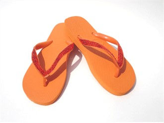 Apricot Hyacinth Crystal Flip Flops