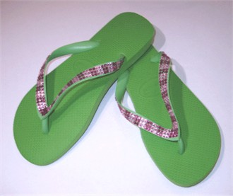 Lime with Fuchsia/Clear Crystal Flip Flops