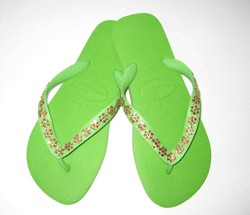 Lime with Topaz Daisy Flip Flops