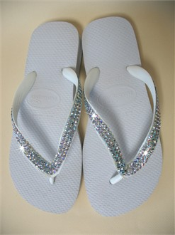 White with AB Crystal Flip Flops