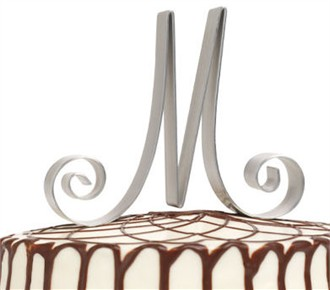 Wedding Cake Top Initial Letters in Silver-tone