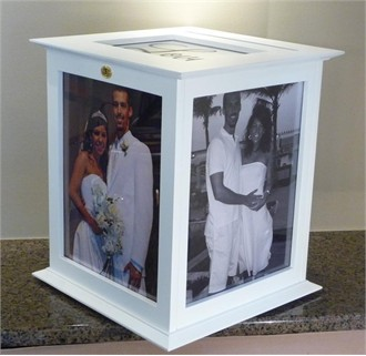 White Wedding Card Box or Money Box with Engraved Plate
