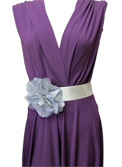 Satin Ribbon Wedding Dress Sash with Grey Flower