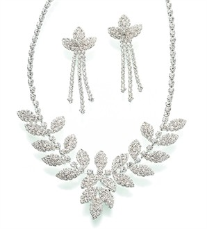Rhinestone Leaf Necklace and Earrings Set