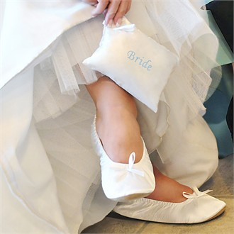 Bride Ballet Shoes with Something Blue Embroidered Gift Pouch