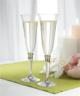 Wedding Toasting Flutes with Silver and Crystals