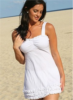 White Ruffled Swim Dress in Gauze Fabric