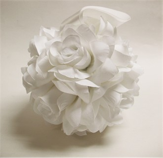 White Rose Kissing Ball or White Rose Pomander