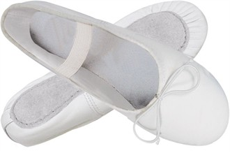 White Leather Girl's Ballet Slippers