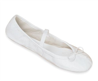 White Leather Ladies Ballet Slippers - Leather Bridal Ballet Slippers