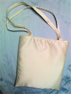 White or Ivory Satin Bride Tote with Pearl Edge