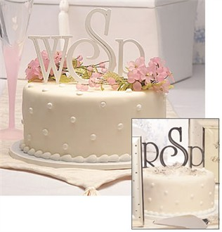 White or Silver Wedding Cake Monogram Letters 3 Inch