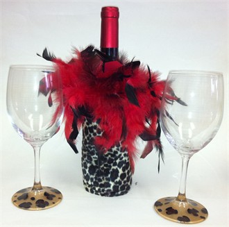 Red and Cheetah Wine Bottle Cover