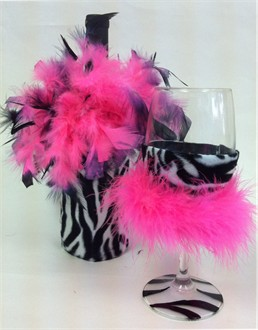 Hot Pink and Zebra Wine Bottle Cover