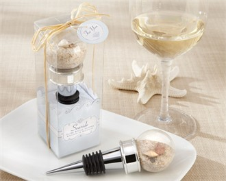 Beach Wedding Favors Seaside Sand and Shell-Filled Globe Bottle Stopper