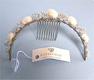 Winters & Rain Atlantis Tiara with Seashells and Crystals