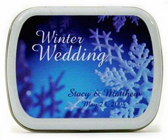 Winter Snowflake Wedding Personalized Favor Mint Boxes