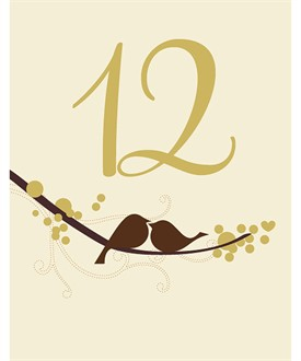 Autumn Love Bird Table Number Cards