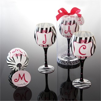 Zebra Initial Wine Glasses - Great Wine Glass Gift Idea!